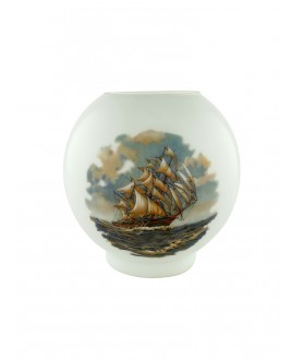 Opal Oil Lamp Shade with Galleon scene