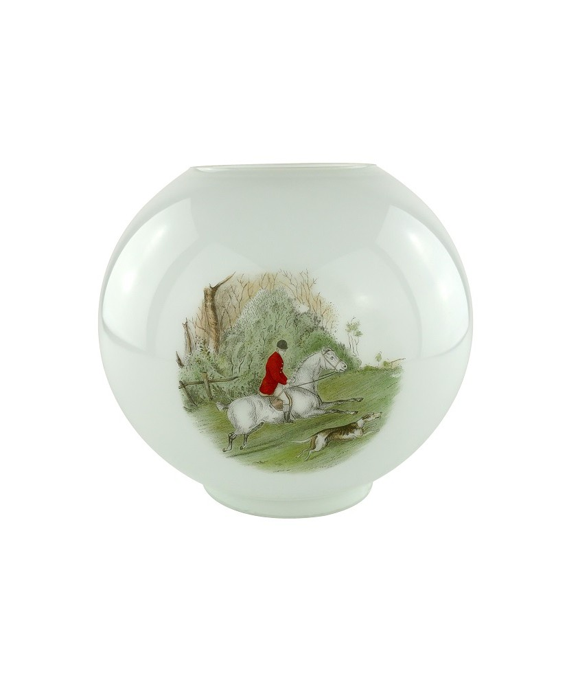 Opal Oil Lamp Shade with Horse and Rider Scene