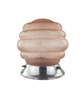 Art Deco Pink Crackled Beehive Shade with 100mm Fitter Neck