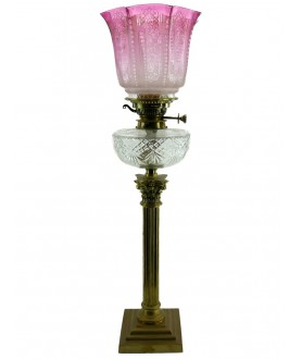 Victorian Cranberry Tipped Oil Lamp Shade : 100mm base