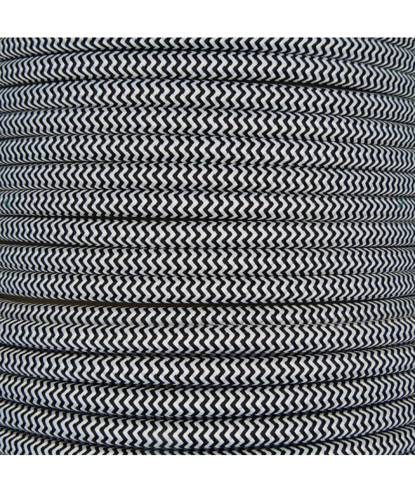 0.75mm Round Cable Black Zig Zag