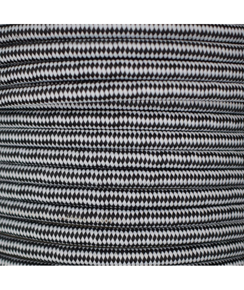 0.75mm Round Cable Black and White Checkered