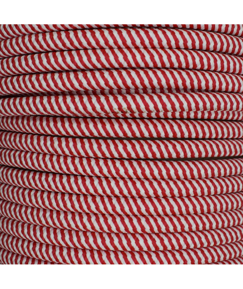 0.75mm Round Cable Red/White Spiral