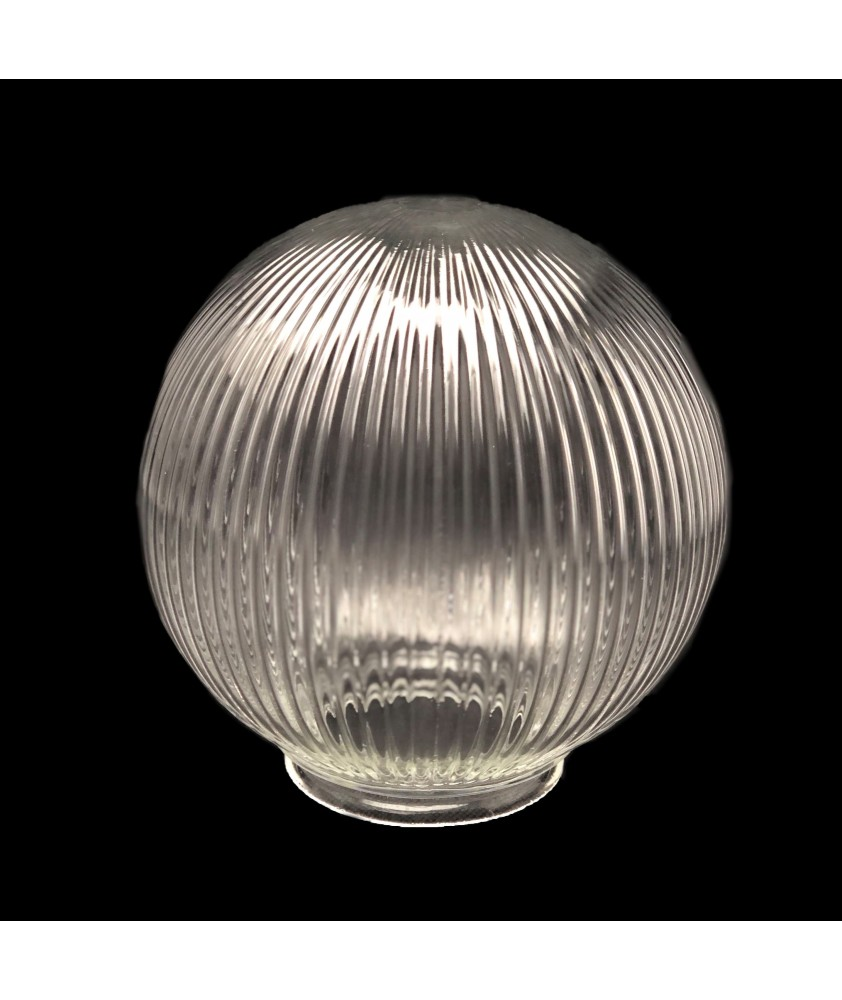 200mm Reeded Globe with 100mm Fitter Neck (Clear or Frosted)