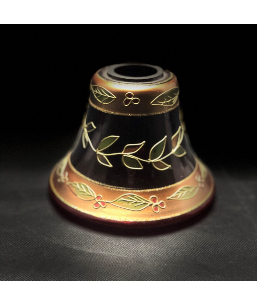 Unique Cranberry and Gold Patterned Oil Lamp Shade with 70mm Base