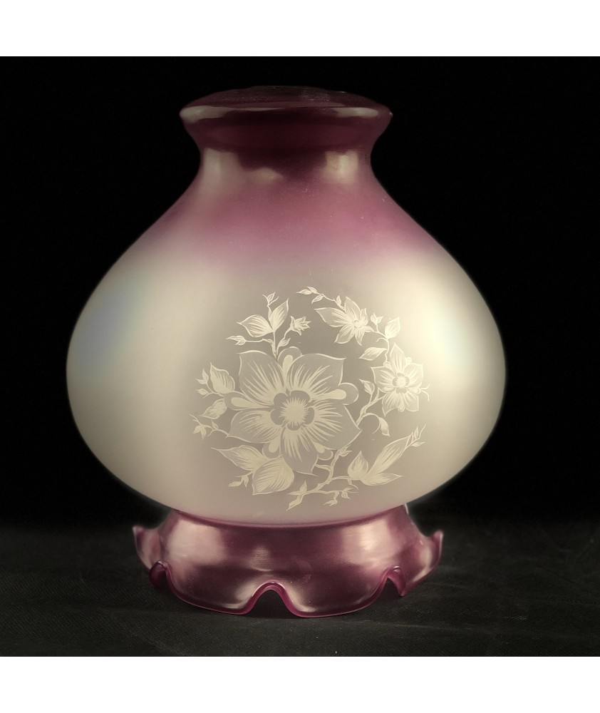 260mm Cranberry Etched Floral Patterned Pendant Shade with 28mm Fitter Hole