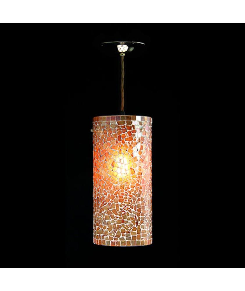 Brunswick Cylinder Pendant - Orange Mosaic