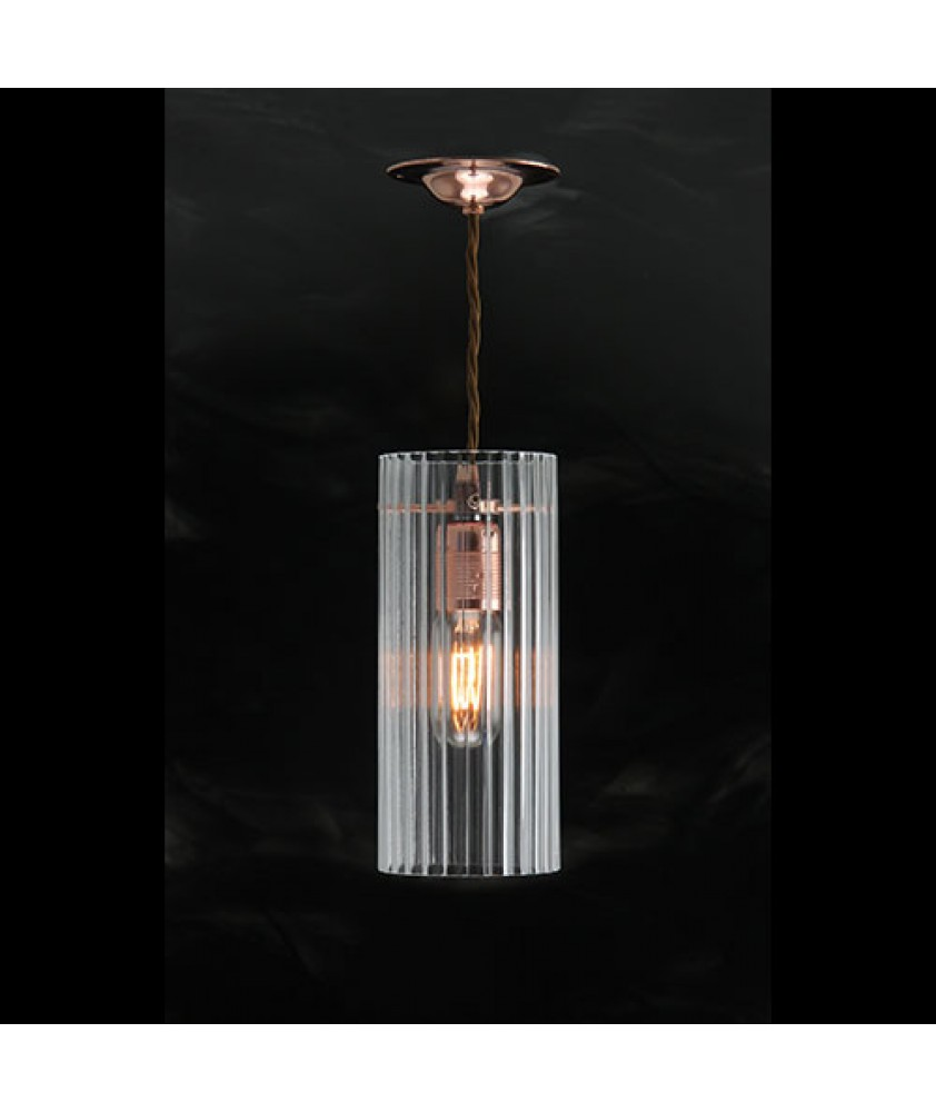 Reeded Clear Cylinder Pendant Copper