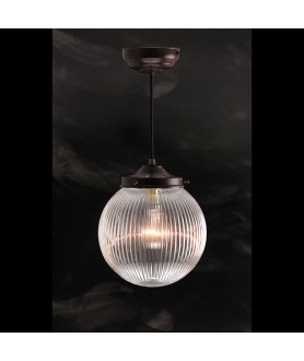 200mm Clear Prismatic Globe Pendant
