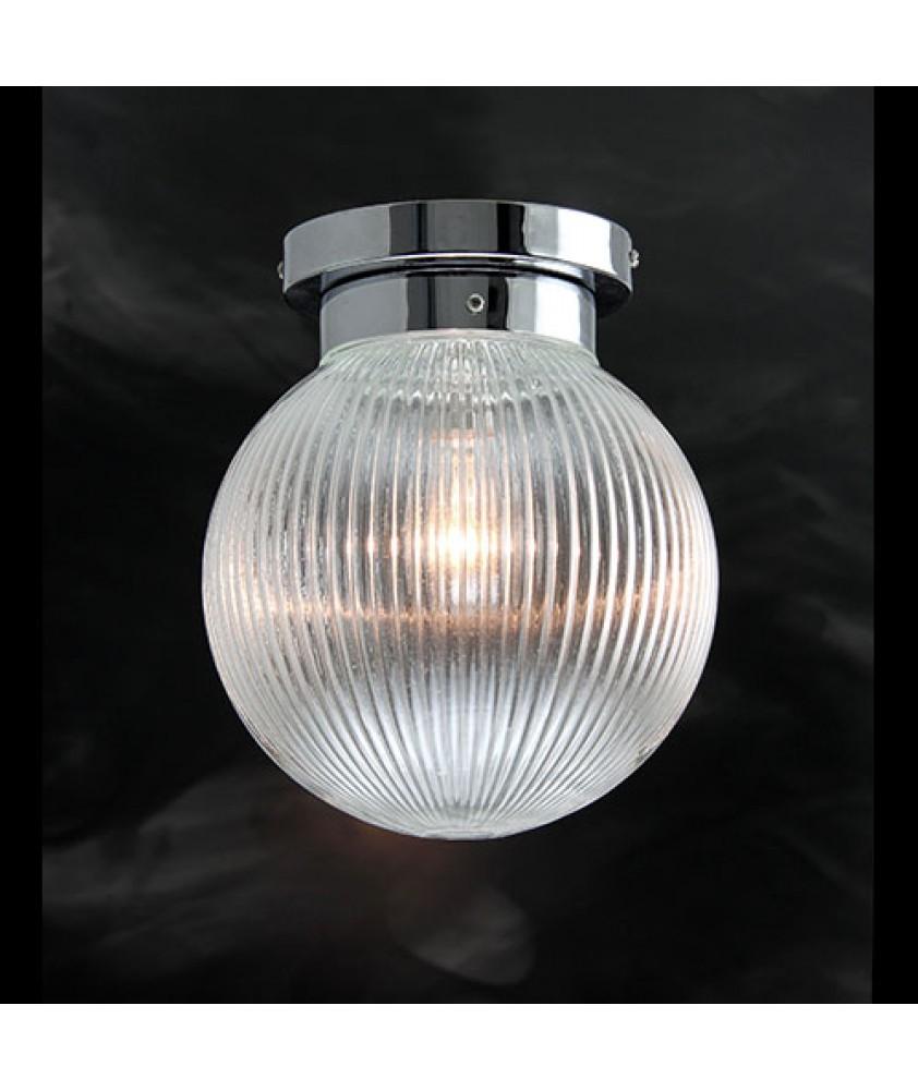 Prismatic Globe Flush Ceiling Light