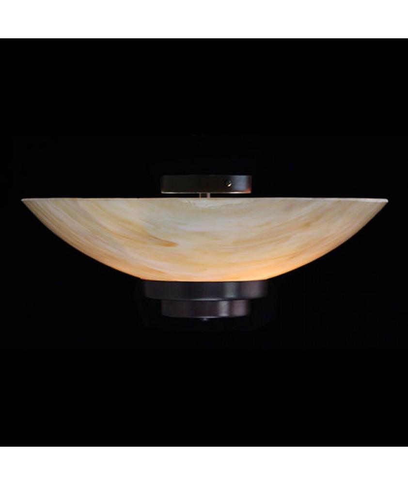 Stratton Semi Flush Ceiling Light - Amber Dish
