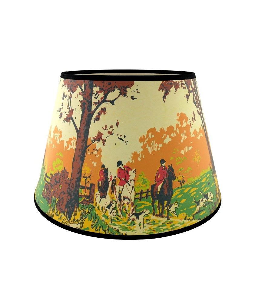 Aladdin Lamp Coach and Horses Fabric Shade with 350mm Base