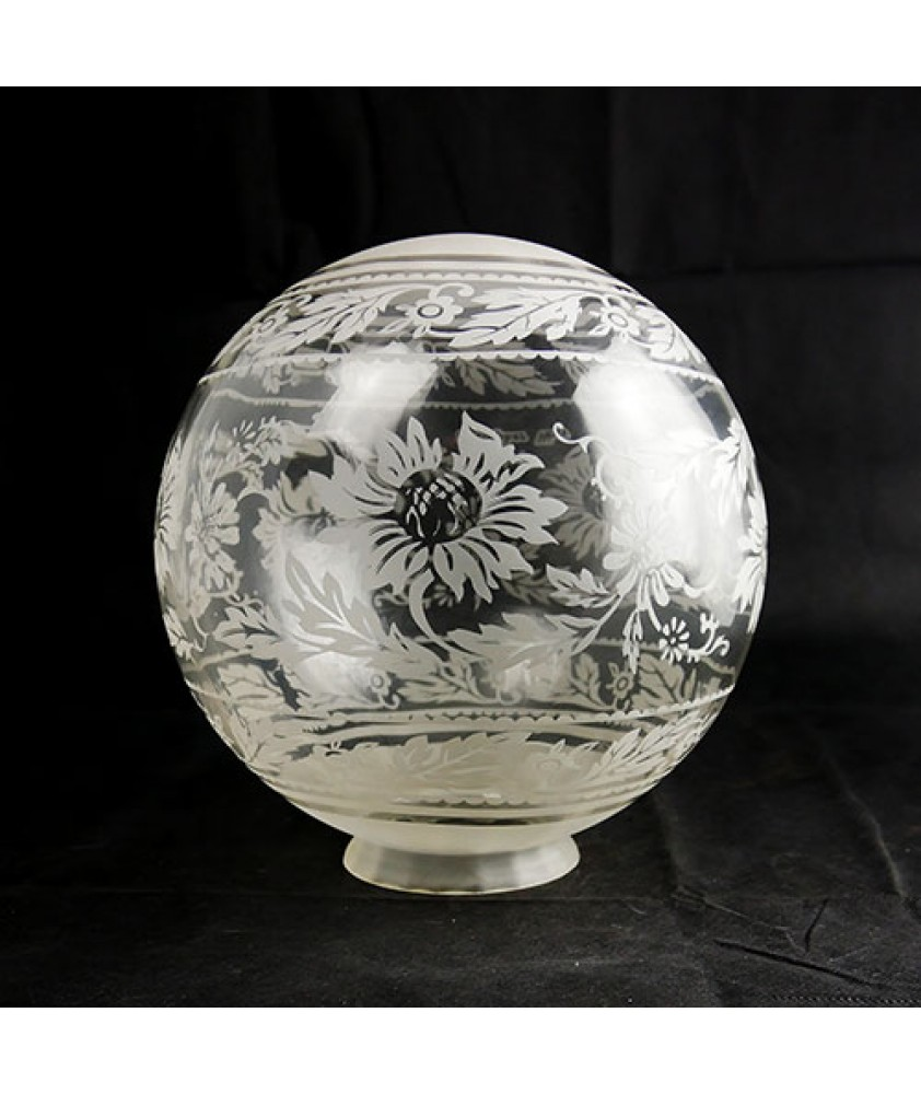 250mm Clear Globe with Etched Banded Christopher Wray  with 100mm Neck