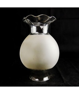 Etched Annupacnic Oil Lamp Shade with Frilled Edge 85mm Base