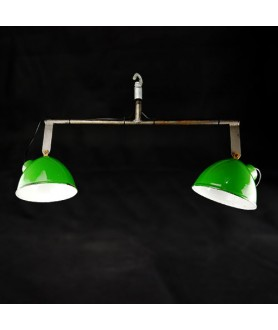1950s Industrial Double Lamp Pendant
